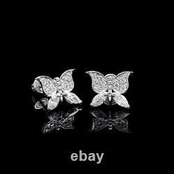 0.25CT Marquise Round Cut Created Diamond Butterfly Stud Earrings 14k White Gold