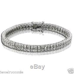 0.75 CTtw Round Diamonds 2 Row Mens Tennis Bracelet 925 White Gold Finish Fanook