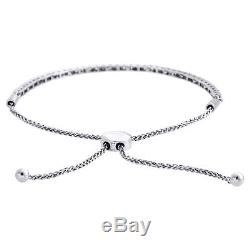 10K White Gold 1 Row Prong Set Genuine Diamond Tennis Bolo Bracelet 11 1 CT