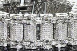 10.37 Carat Mens White Gold Finish Real Natural Diamonds Bracelet