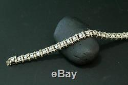 10. CT. White VVS1 Diamond 14k White Gold Over Men's Silver Tennis Link Bracelets