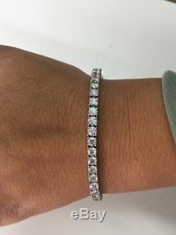 10 Carat Vs1-vs2 D Diamond Tennis Bracelet 14 Karat White Gold Ladies Certified