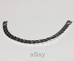 10kt Solid WHITE Gold Handmade Curb Link Mens Bracelet 8.5 43 Grams 8 MM
