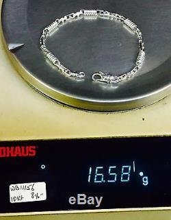 10kt Solid White Gold Handmade Link Men's Bracelet 8.5 5 MM 15 grams