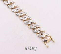 11mm Miami Cuban Diamond Cut Royal Bracelet Box Clasp Real 10K Yellow White Gold