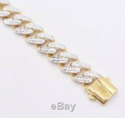 11mm Miami Cuban Link Diamond Cut Reversible Bracelet Real 10K Yellow White Gold
