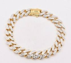 11mm Miami Cuban Royal Link Diamond Cut Bracelet Real 10K Yellow White Gold