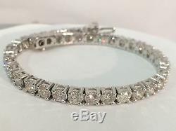 12.00 ct round cut white gold 14k diamond tennis bracelet F VS1 CERTIFIED 7.5 in