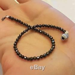 12 Carat Black Natural Diamonds Beads Bracelet 14k White Gold Women Or Man