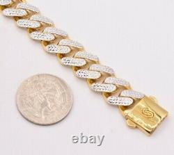 13mm Miami Cuban Royal Link Diamond Cut Bracelet Real 10K Yellow White Gold