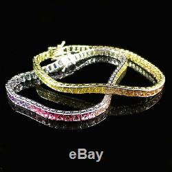 14K Gold Plated 925 Sterling Silver Rainbow Tennis Bracelet Square Diamonique