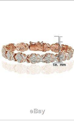 14K Rose Gold Over 8.00 CT Round Cut Diamond X Tennis Bracelet 7.50