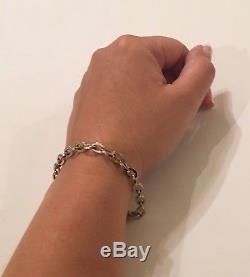 14K White Gold 7.75 Link Chain Bracelet 5.2 grams, Marked Italy Milor