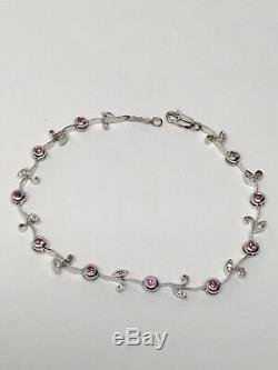 14K White Gold Bezel Set Ruby and Diamond Tennis Bracelet 7.25 Vine and Leaf
