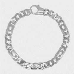 14K White Gold Heavy 8 Flat Cuban Style Link Chain Bracelet 36.2 grams 8.2 mm