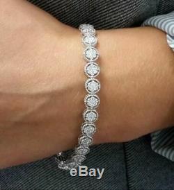 14K White Gold Over 10 CT Round Cut VVS1 Diamond Tennis Bracelet 7.25 inch