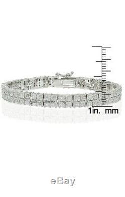 14K White Gold Over 2 Row 8.00 CT Round VVS1 Diamond Bracelet 7.50 Inch