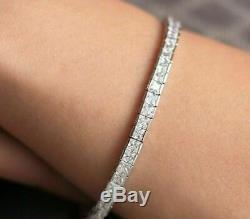 14K White Gold Over 6 CT Princess Diamond Tennis Bracelet Sterling Silver 7.25'