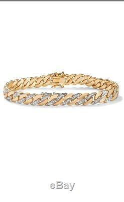 14K Yellow Gold Over 7.00 CT Round Cut Diamond Men's Tennis Bracelet 8