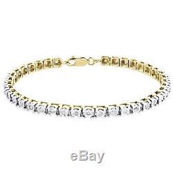 14K Yellow Gold Over 7.50 CT Round Diamond Women's Tennis Bracelet 7inch