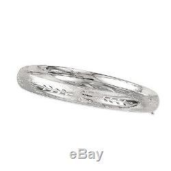 14Kt White Gold Florentine Etched Hinged Bangle/Bracelet 7 5 mm 3/16 4.6 grams
