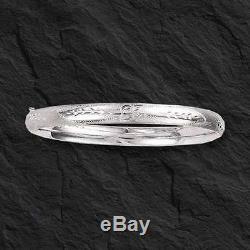 14Kt White Gold Florentine Etched Hinged Bangle/Bracelet 8 5 mm 3/16 5 grams