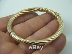 14k Bangle Bracelet 14 Karat Yellow & White Gold Swirl Fluted 7 Bangle Bracelet
