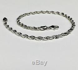14k Solid White Gold Diamond Cut Rope Chain Bracelet 7 3 mm 4 grams (WR023)