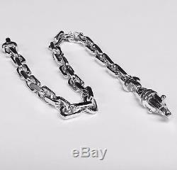 14k Solid White Gold Handmade Anchor Link Mens chain/Bracelet 8 27 grm 5.5MM