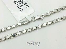 14k Solid White Gold Heart Link Bracelet Chain 5.5 2.9mm Baby Girl Child