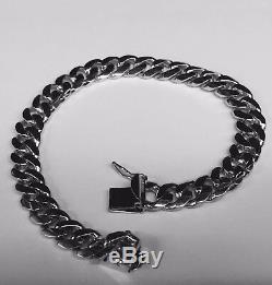 14k Solid White gold Miami Cuban Curb Link mens bracelet 7.5 30 grams 8MM