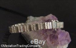 14k White Gold 3.9 Ct Round Baguette Diamond Bar 7mm Tennis Bracelet 17.8 Grams
