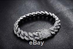 14k White Gold Diamond Cuban Link Bracelet Solid Icy Solid Lifetime Warranty