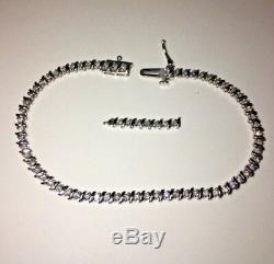 14k White Gold Diamond Tennis Bracelet with 1.00 Carat Natural Round Diamonds