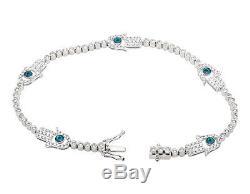 14k White Gold Hamsa or Hand of Fatima Evil Eye 7 inch Diamond Bracelet 2.25ct