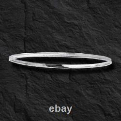 14k White Gold Slip-On Stackable textured Bangle/Bracelets 8 2 grams 2.5mm