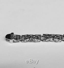 14k White Gold Super Byzantine Fashion Link Men's Bracelet 8 7mm 7.5 grams