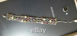 14k White gold diamond sapphire gemstone bracelet