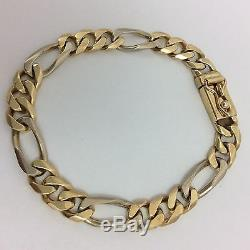 14k Yellow And White Two Tone Gold Heavy Mens Link Bracelet