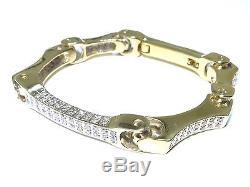 14k Yellow Gold 3.40ct White Diamond Rotatable Solid Bone Bangle Bracelet
