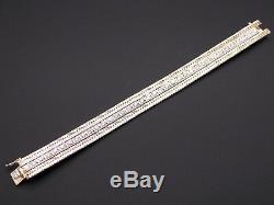 14k Yellow White Gold 3ct Round Cut Diamond Tennis Link Braided Bracelet 6.75