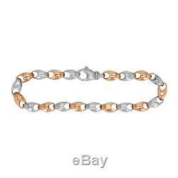 14k Yellow & White Gold Handmade Fashion Link Bracelet 85 7mm 32.2grams