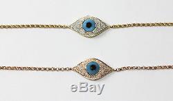 14k Yellow or White Gold Evil Eye Bracelet with Diamond (Dia. 0.16cts)