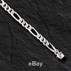 14k solid WHITE gold handmade Figaro Curb link mens bracelet 8 13 grams 5.25MM