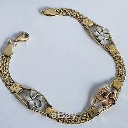 14k yellow gold flower bracelet 7.25 Inches Long woman's white rose