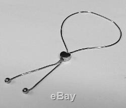 14kt White Gold 9.25 Friendship HEART bracelet with Adjustable slide clasp