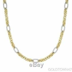 14kt Yellow+White Gold 1+6 Oval -Round Link Bracelet with Lobster Clasp