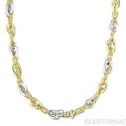 14kt Yellow+White Gold 4 Open Loose Oval+Shiny Double Link Bracelet & Necklace