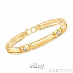 14kt Yellow+White Gold Shiny Two Tone Men's Fancy Bracelet