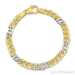 14kt Yellow+White Gold Shiny Two Tone Men's Link